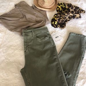 FREE PEOPLE distressed high waist green